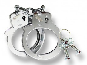 Double Lock Black Steel Handcuff